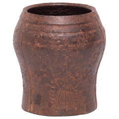 19th Century Chinese Floral Cast Iron Mortar