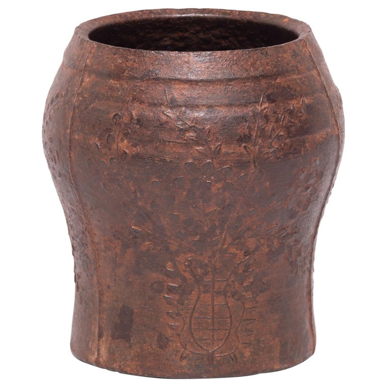 19th Century Chinese Floral Cast Iron Mortar For Sale