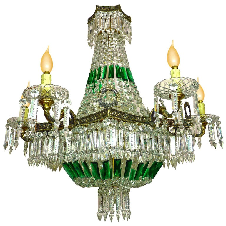 Monumental French Louis XV Empire Green Crystal Bronze 15light Basket Chandelier For Sale