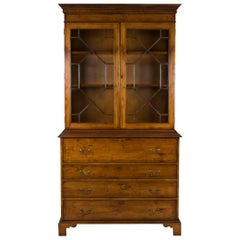 English Yew Wood Secretaire Secretary Bookcase Butlers Desk