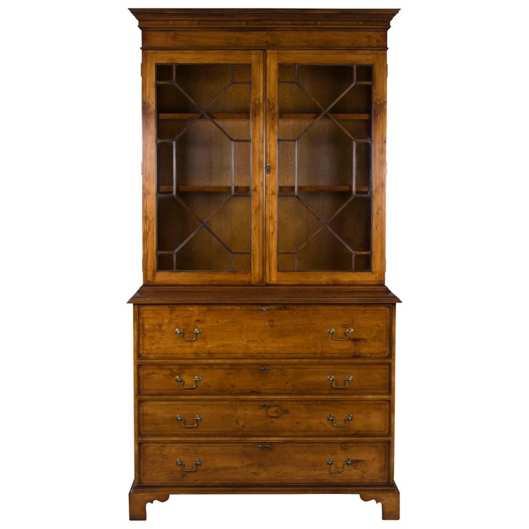 English Yew Wood Secretaire Secretary Bookcase Butlers Desk For Sale