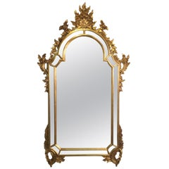 Carved Gold Giltwood Venetian Mirror Made in Italy by La Barge
