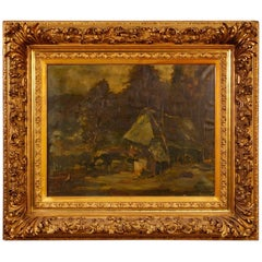 20th Century Oil on Canvas Dutch Signed Forest Landscape Painting, 1920