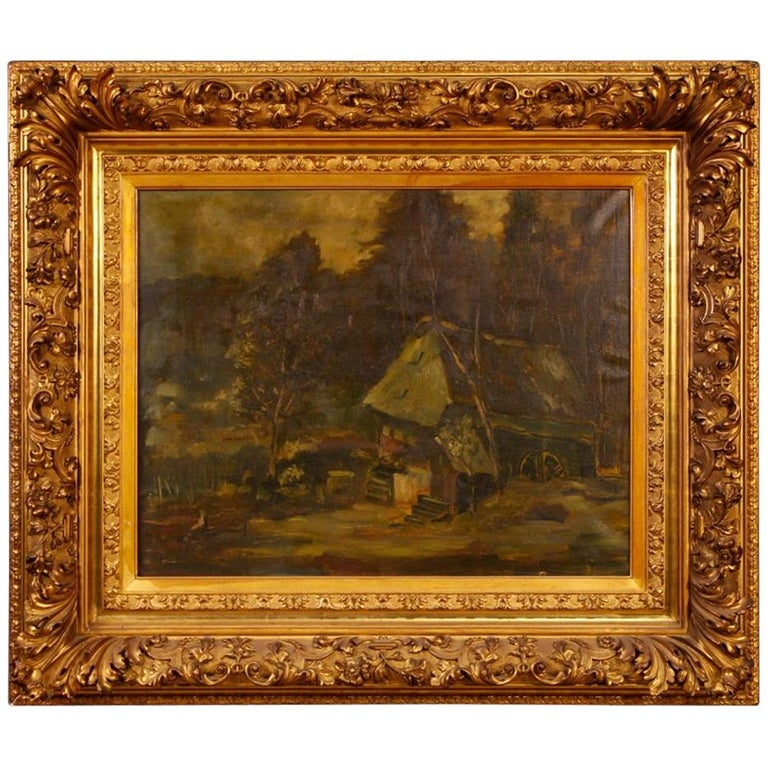 20th Century Oil on Canvas Dutch Signed Forest Landscape Painting, 1920 For Sale