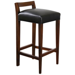 Umberto Low-Back Contemporary Wood and Leather Barstool from Costantini