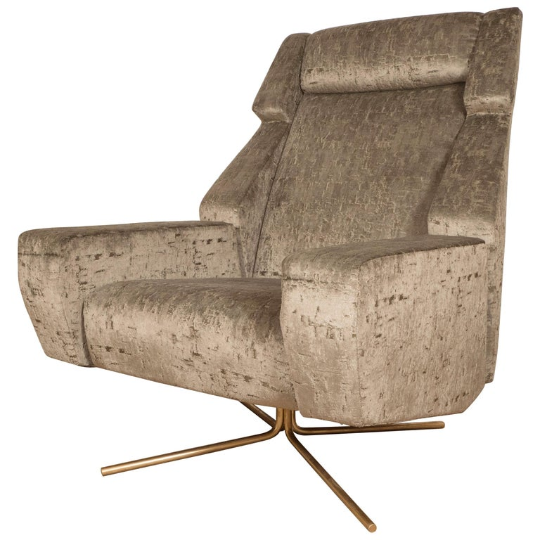 Pair of Large Scale Upholstered Swivel Chairs For Sale