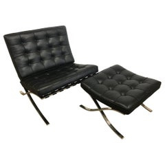 Knoll Black Leather Barcelona Chair and Ottoman