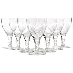 1960s Twisted Stem Glass Wine Stems, Set of 8