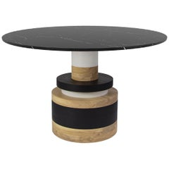 Customizable Sass Dining Table from Souda, Medium, Black Marble Top