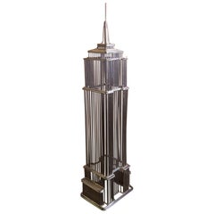 Empire State Building Wire Sculpture Model in Chrome