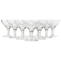 1960s Twist Stems Glass Coupes, Set of 10
