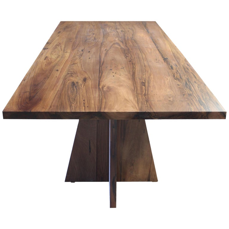 Solid Argentine Rosewood Twin Pedestal Luca Table from Costantini For Sale