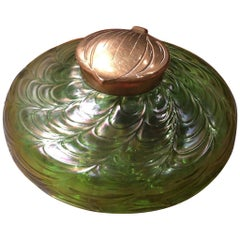 Iridescent Art Nouveau Art Glass Inkwell by Loetz