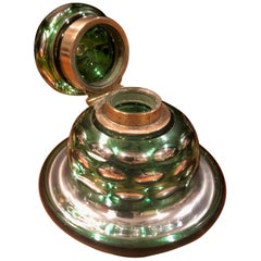 Antique Green & Silver Mercury Glass Inkwell by W. Lund of London
