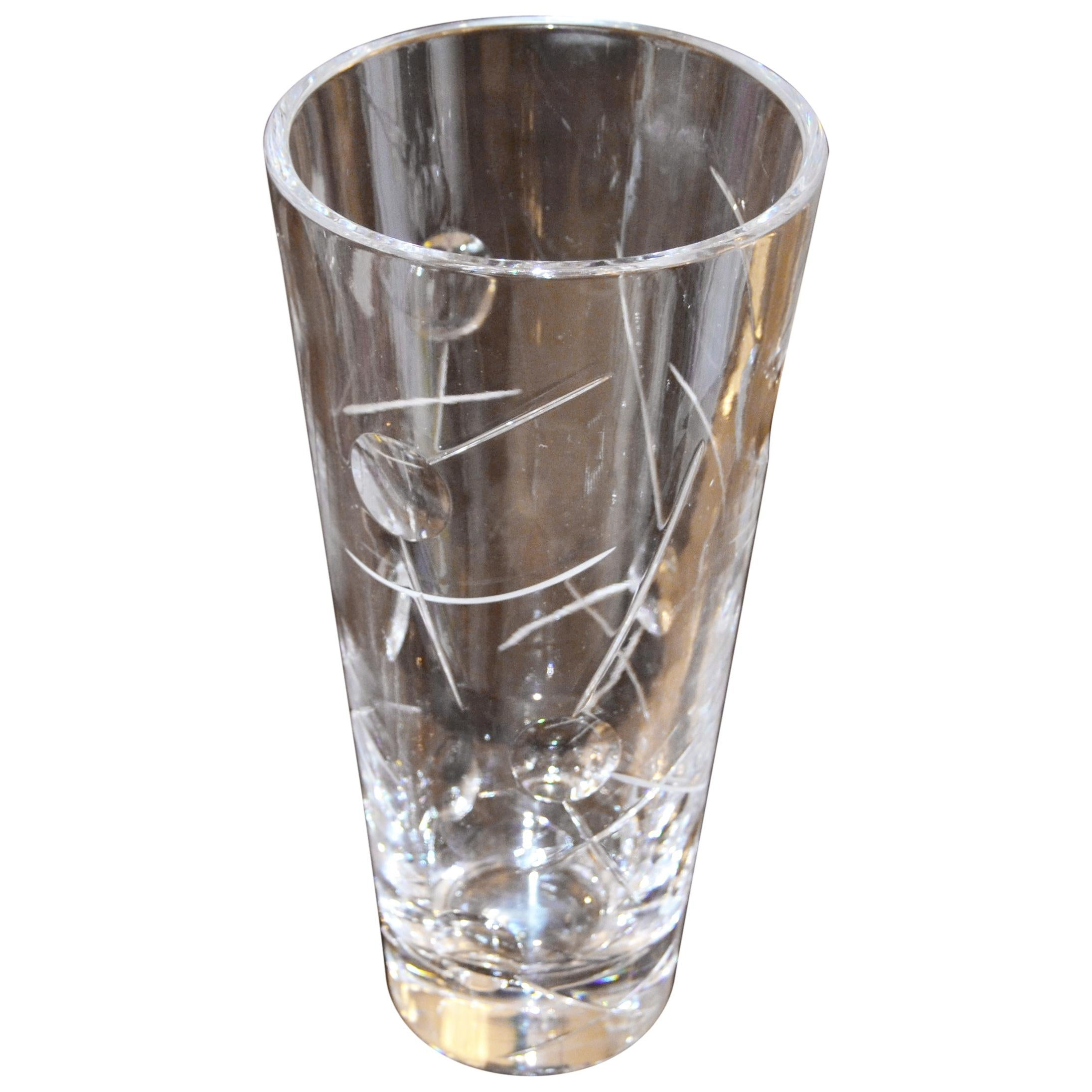 Royal Doulton Cut Crystal Vase with Bubbles and Etching, England