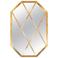 Octagonal Brass Mirror with Diamond Design