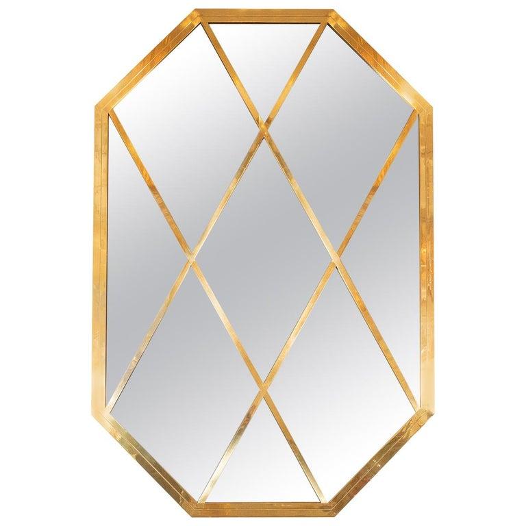Octagonal Brass Mirror with Diamond Design For Sale