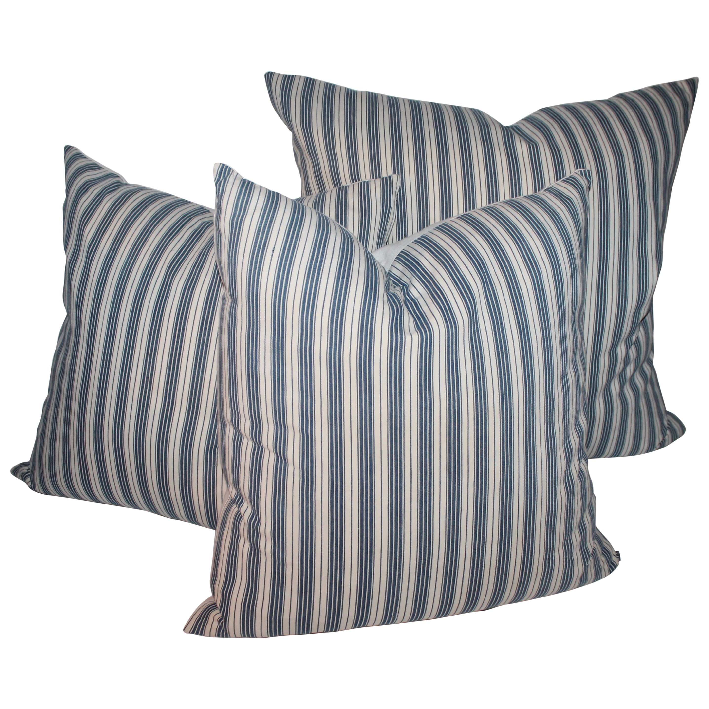 Collection of Three 19th Century B & W Ticking Pillows