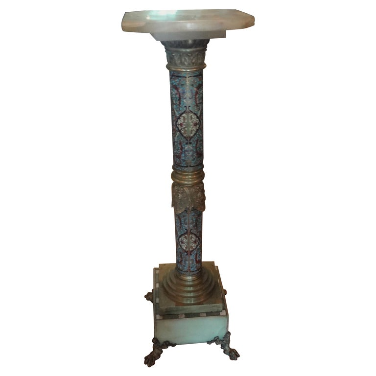 19th Century French Gilt Bronze Onyx and Champlevé Pedestal For Sale