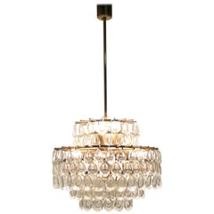 Seven-Tiered Chandelier by Palwa, Git Brass and Crystal Glass, circa 1960s