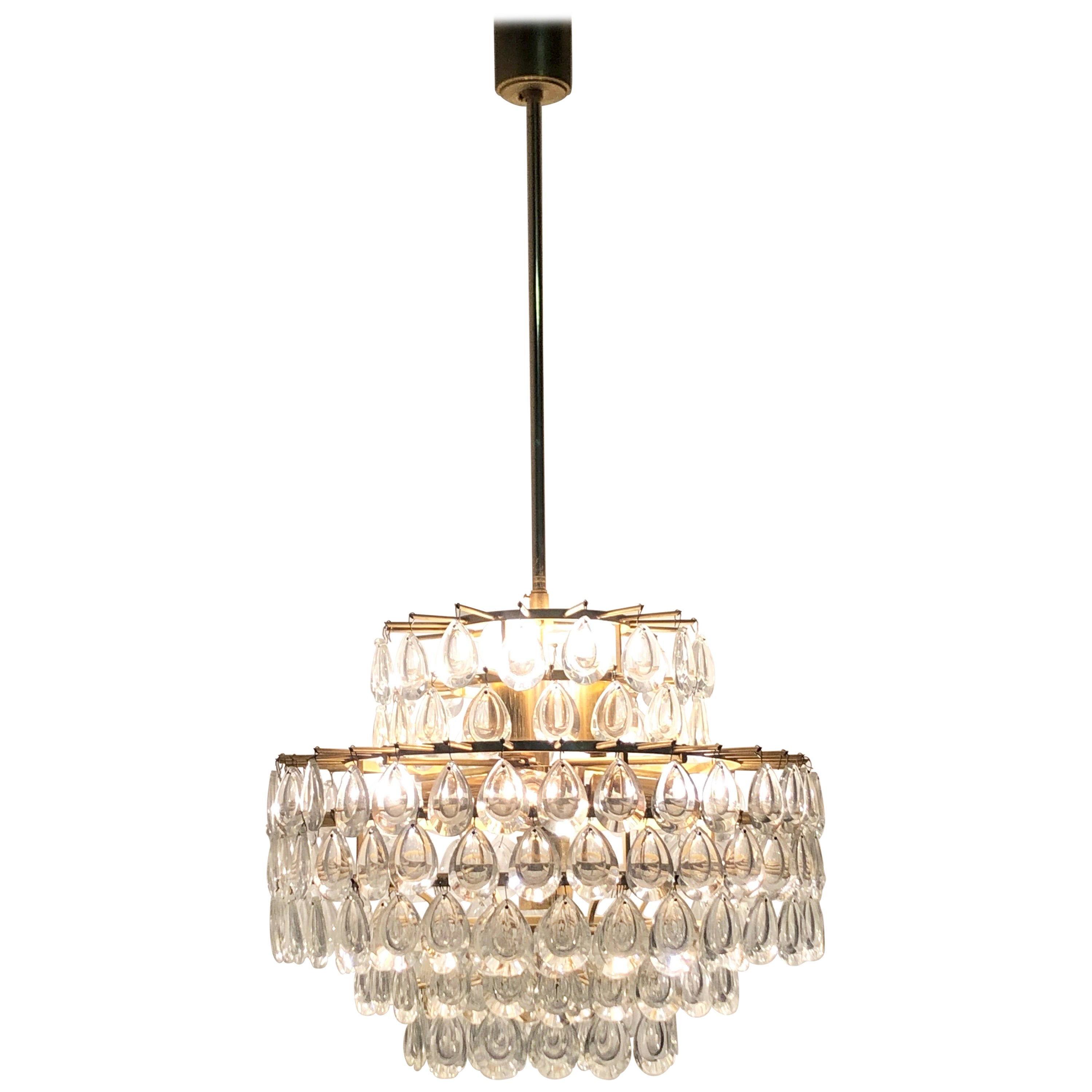 Seven-Tiered Chandelier by Palwa, Git Brass and Lenses Glass, circa 1960s