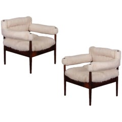 Pair of Kristian Vedel Sheepskin Modus Lounge Chairs