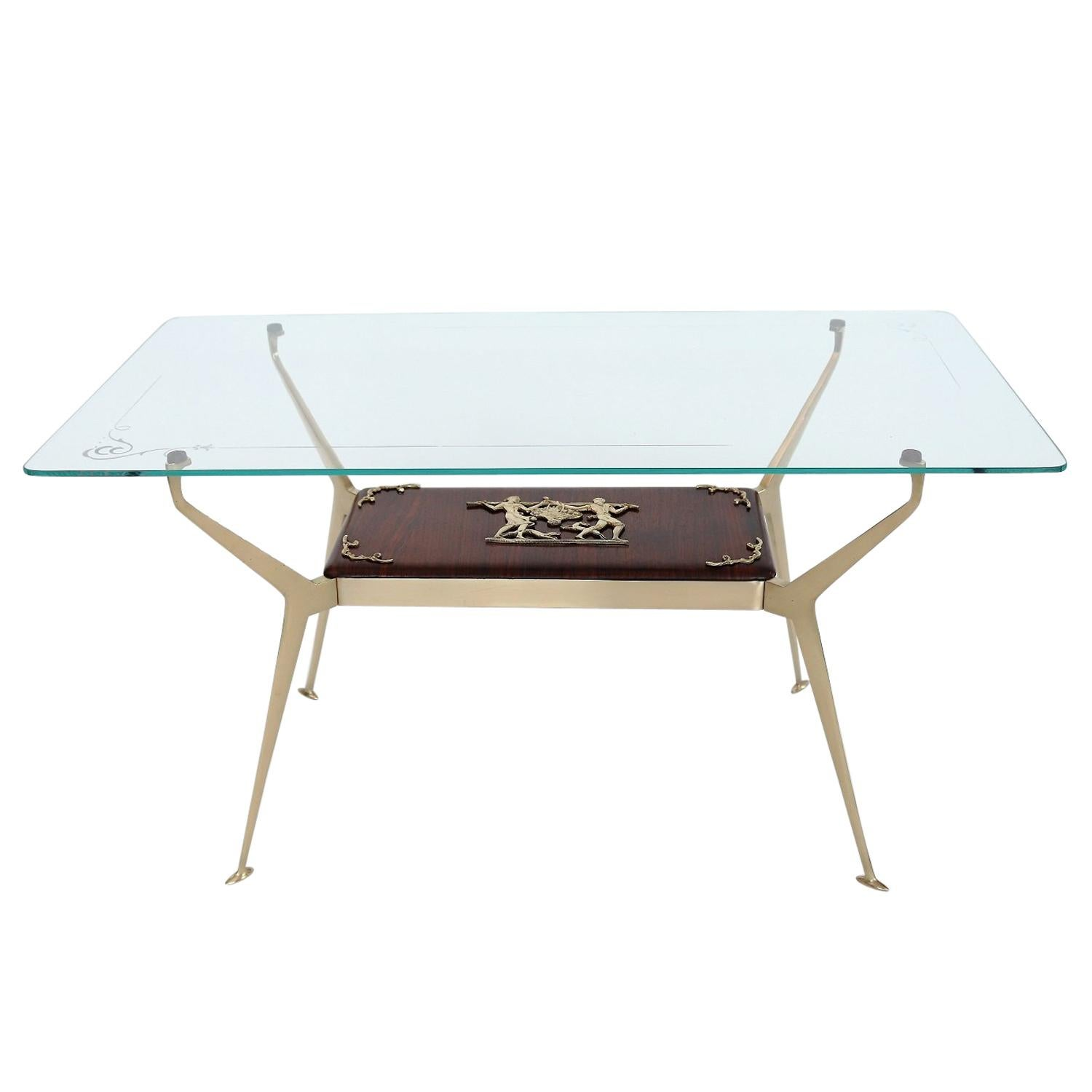 Italian Midcentury Coffee Table or Side Table with Brass and Mahogany, 1950s