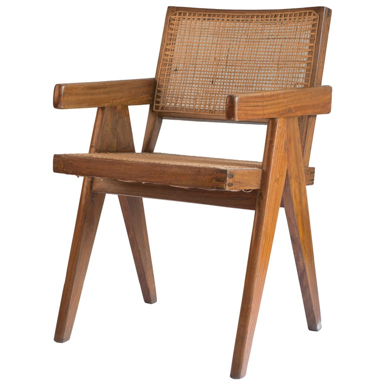 Pierre Jeanneret Office Cane Chair for Chandigarh For Sale