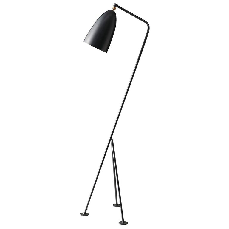 Greta Grossman Grasshopper Floor Lamp, Anthracite Grey For Sale