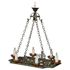 19th Century French Verdigris Iron Six-Light Flat Bottom Island Chandelier