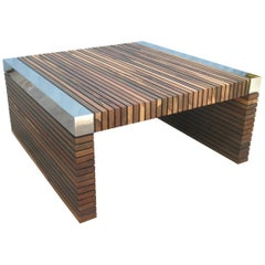 Costantini Argilla Table with Argentine Rosewood Slats and Nickel Plated Details