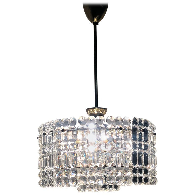Midcentury Two-Tiered Chandelier by Kinkeldey, Brass and Grip Crystal, 1960s For Sale