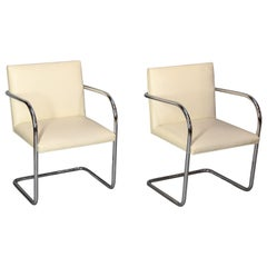 Set of Four Knoll Brno Tubular Dining Chair Designed by Mies Van Der Rohe