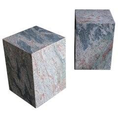 Pair of Granite Stone Occasional Tables, circa 1980