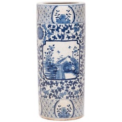 Chinese Blue and White Scroll Umbrella Vessel
