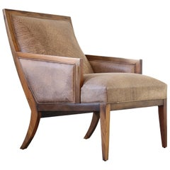 Contemporary Belgrano Wood and Leather Lounge Chair from Costantini
