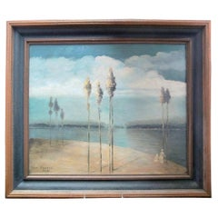 Paul Stotts circa 1928 Signed Original Coastal Trees Oil Painting Woman & Child