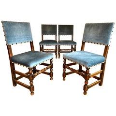 Antique Set of 4 French Country Provincial Rustic Blue Dining Castle Chairs