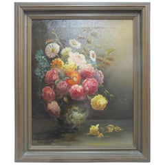 Paul Stotts circa 1928 Framed Signed Oil Painting Still Life of Flowers in Vase