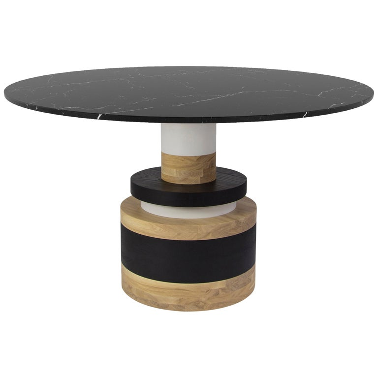 Customizable Sass Dining Table from Souda, Medium, Black Marble Top For Sale