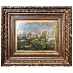 "Impressionism School ""Landscape with Village"" Nice Frame France 19th Century"