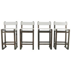 Set of Four Slung Leather Piero Bar Stools from Costantini