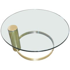 John Mascheroni Cantilevered Coffee Table Coated in Brass