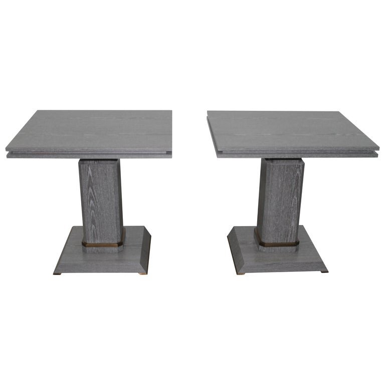 Pair of Contemporary Gray Cerused Oak Occasional Table with Bronze Detailing For Sale