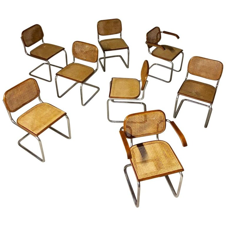 Marcel Breuer Bauhaus B32 Cesca Dining Room Chairs for Knoll, 1970s, Set of 8 For Sale