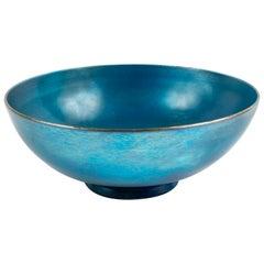Footed Blue Steuben Aurene Bowl by Frederick Carder