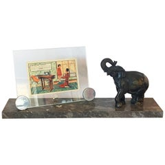 French Art Deco Marble Photo Picture Frame with an Elephant