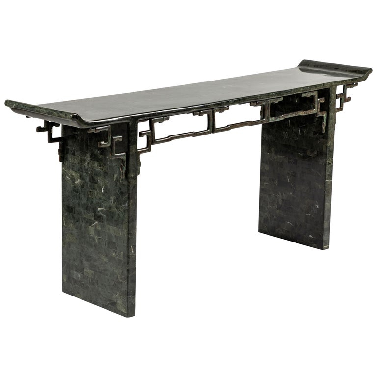 Tessellated Stone and Bronze Console Table by Maitland-Smith For Sale