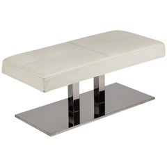 Stainless Steel and Faux Leather Bench by Philippe Starck