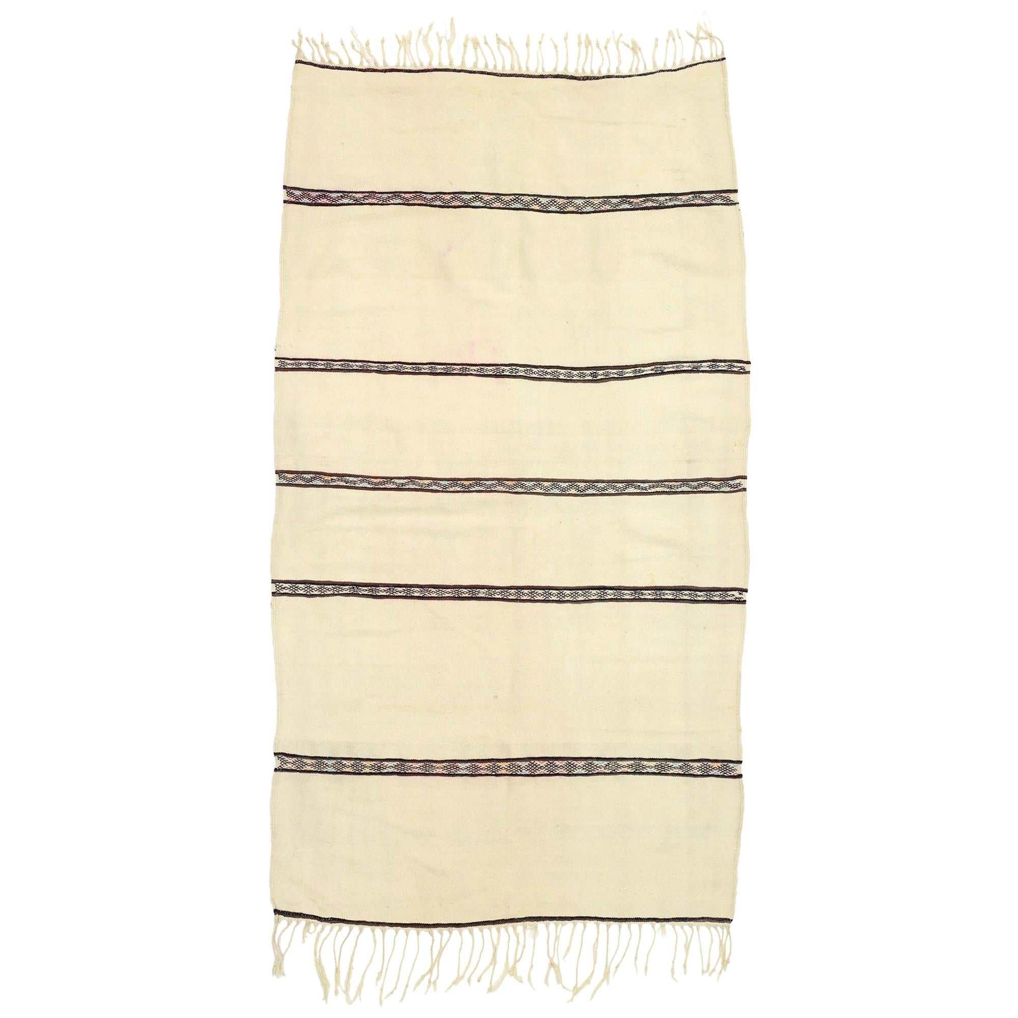 Vintage Berber Moroccan Handira Kilim Rug with Bohemian Tribal Style, Flat-Weave